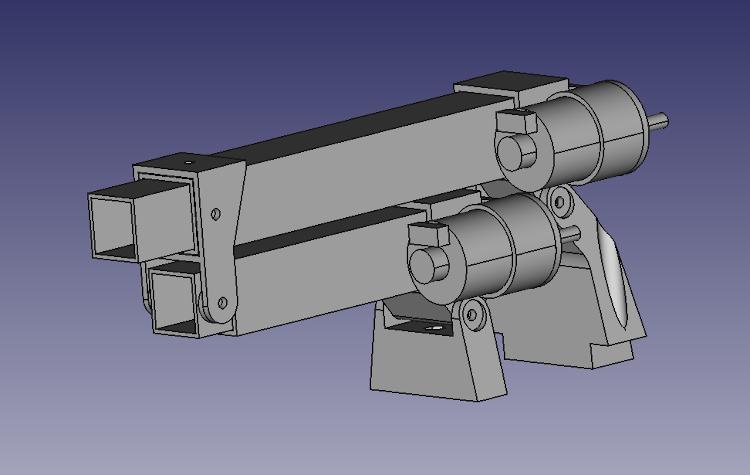 A 3D CAD model of a lifting telescopic arm.