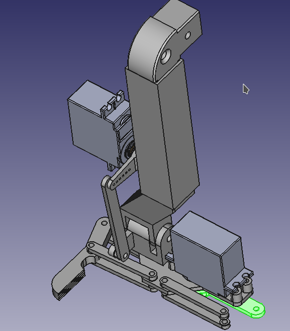 A screenshot of a robotic claw in FreeCAD.