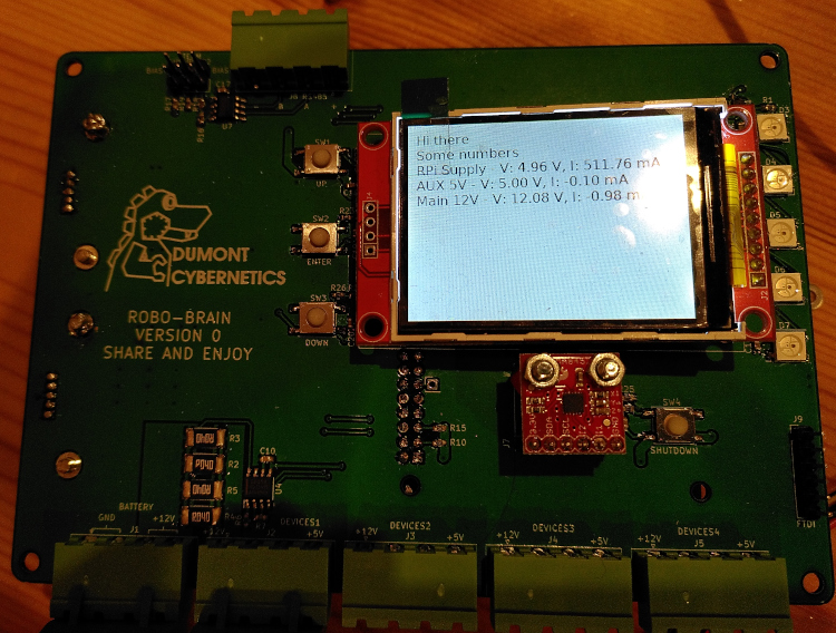 Current and voltage measurements displayed on the LCD
