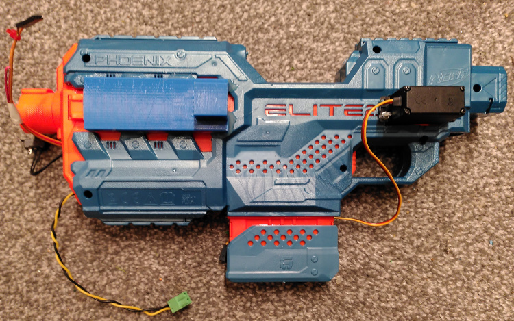 Fully assembled automated Nerf gun