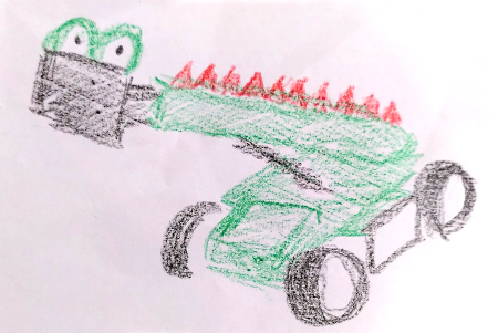 Sketch of a telehandler decorated to look like a dragon