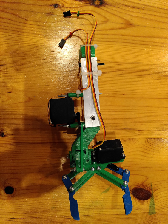 A 3D printed two fingered robotic claw with two servos.